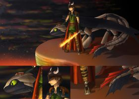 Big4-Hiccup and Toothless by hiddenwriterspirit
