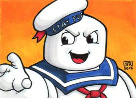 Stay Puft Marshmallow Man Sketch Card by TheRigger