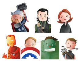 Mini Avengers by Nachan