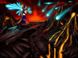Angel fighting Hell by cubehero