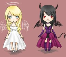 Femme Angel and Devil Chibis by Haruki