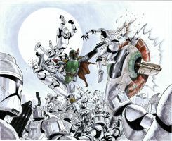Boba Fett vs Clone Troopers - Copic commission by SheldonGoh