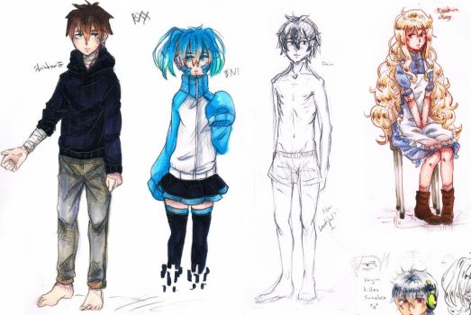 Kagerou Project: Sketches - Ene - Shintaro - Mary by HiddenService