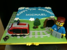 Lego Train Cake by Spudnuts