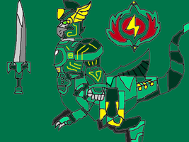 Teal Raptor Centaur Knight Zord by conlimic000