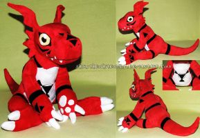 Guilmon plush by ShiroTheWhiteWolf