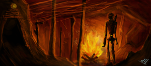 Fire Cave: Digipaint by ChubbaART