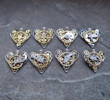 Mechanical Heart Pendants II by AMechanicalMind