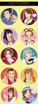 Ace Attorney buttons! by alicenpai