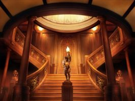 Staircas inside Titanic by novtilus