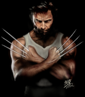 iPad finger painting of Wolverine (Hugh Jackman) by chaseroflight