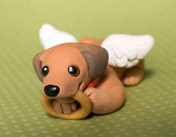 Angel puppy dog sculpture commission by SculpyPups