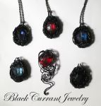 Black Wire and Crystal Pendants by blackcurrantjewelry