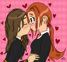 Hermione Ginny Cute Kiss by SmileWhenDead