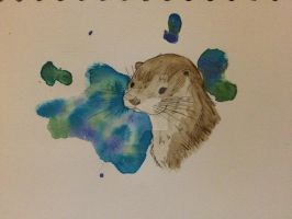 Otter watercolour by spot1the2dog3