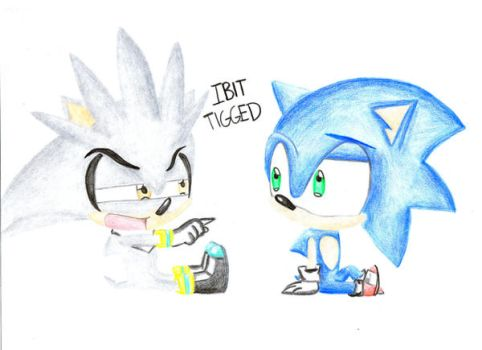 Baby Silver hates baby Sonic by darkangel4432