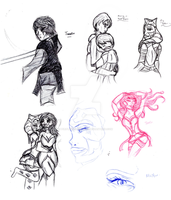 Unreleased Sketches Sketch Dump. by PurpleWillowTrees