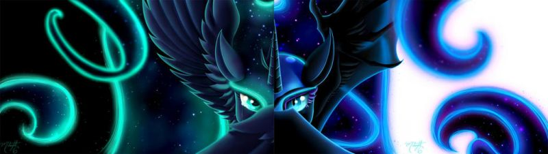 Nightmare moon/Luna (Two screen wallpaper) by thepoopingcow