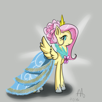 Fluttershy at the gala~ by DreamynArt