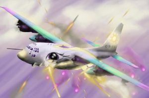 Princess Celestia in an AC-130 by TatterTailArt