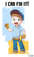 Fix-It Felix Jr. by chibitracydoodles