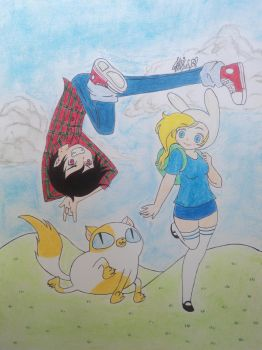 Fionna Cake and Marshall Lee by pancheokun