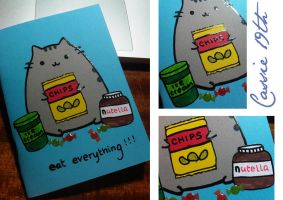 Pusheen Eat Everything Notebook by aria-arissa