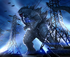 Godzilla anniversary commission by blackmyst