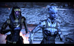 ME3 Tali and Liara on Final Run by chicksaw2002