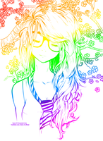 Rainbow Cute Girl~ //Line Art Colored// by NeonArianna