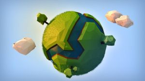 Green Low Poly Planet by DaRkLmX