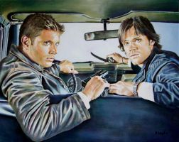 Jensen Ackles and Jared Padalecki in Supernatural by andylloyd
