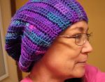 Purple variegated crochet slouch hat by Sharondipity