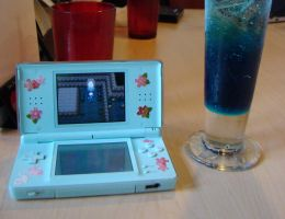 DS lite and a drink by avarenity