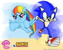 Sonic vs. Rainbow Dash by MaroxXIII
