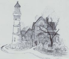Lighthouse and house in pen by LeanaeffaY