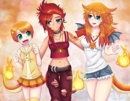 Charmander and Her Sisters by lilnevie