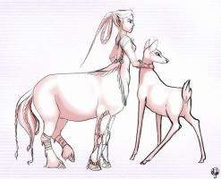 Centaurette and Doe by dyb