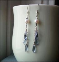 Falling Leaves -Dark Blue- with Pearl Earrings by QuintessentialArts