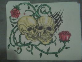skulls and roses by wallaceharkness123
