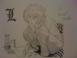 L or Ryuzaki at his table of food from Death Note by captonstu