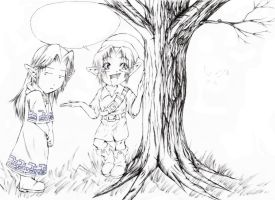 Link Talks to Trees -lineart- by Annachuu