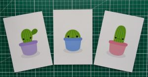 Set of 3 cute cactus prints by Knuckers-Hollow