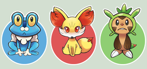 Pokemon XY Starters by Ryotashi