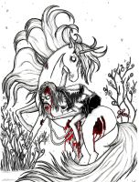 Zombie and unicorn by JennyGhe