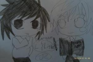 Death Note L and Light by Bluedragoncartoon