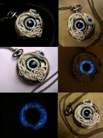 Avalanche Watch - Snow Ice Eye Pocket Watch by LadyPirotessa