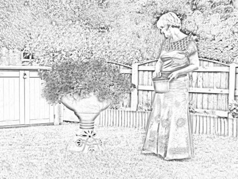 Marilyn in garden Drawing by tudorman