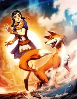 The fox and the girl by GENZOMAN
