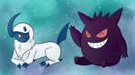 Absol and Gengar - Point commy by Eifi--Copper